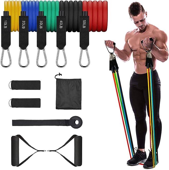 2020 11pcs Widerstandsbänder Set Übung Fitness Tube Workout Bands Krafttraining