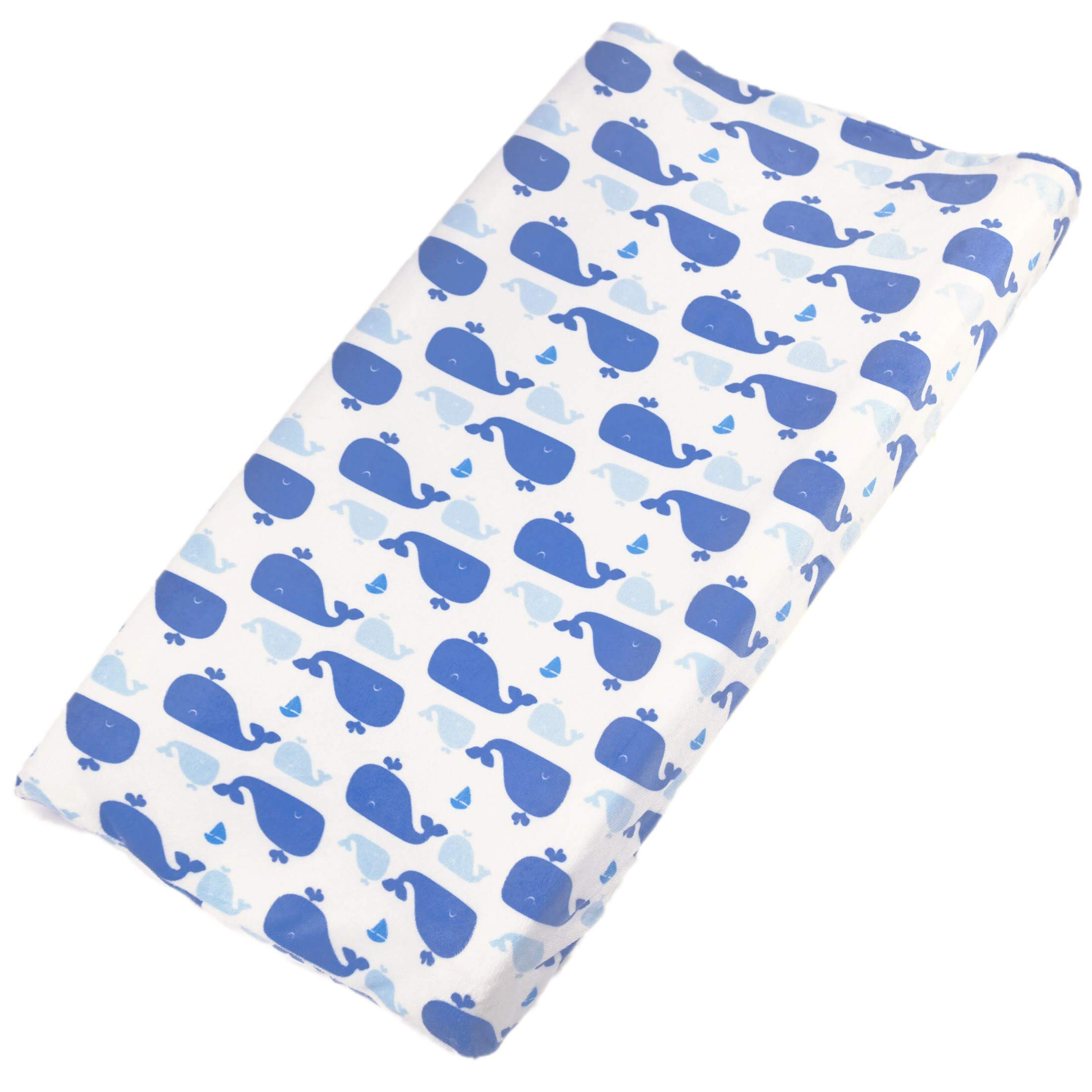 Khy's Changing Pad Cover for Baby Boys Girls, Plush Soft & Stretchy, Stain Resistant, Ocean Blue Whales Design by Khy's