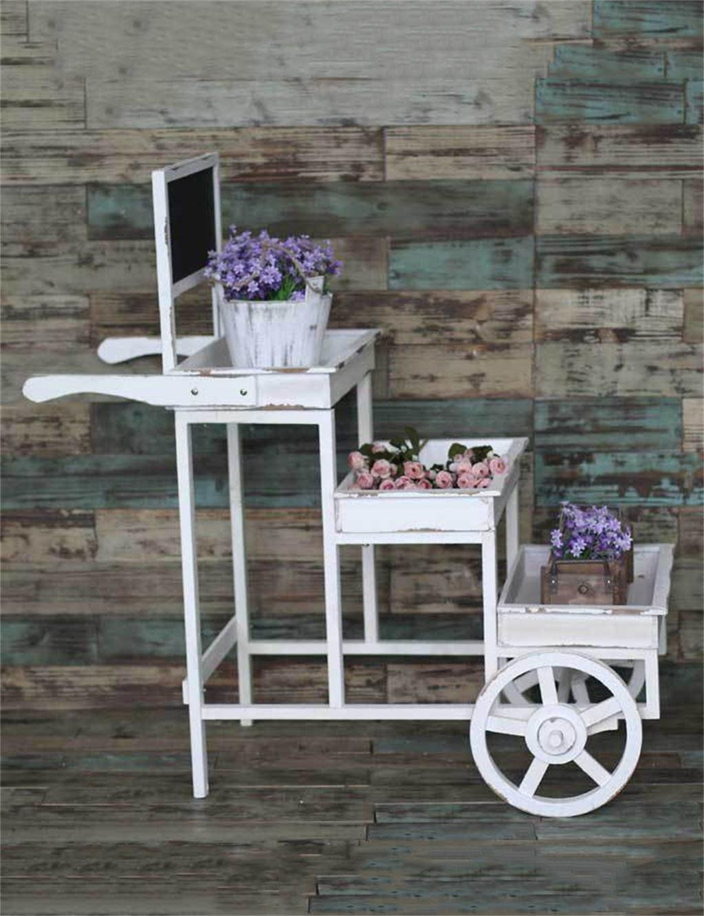retro dreistufige massivholz trolley blume topf regal montage garten pflanze topf halter blume. Black Bedroom Furniture Sets. Home Design Ideas