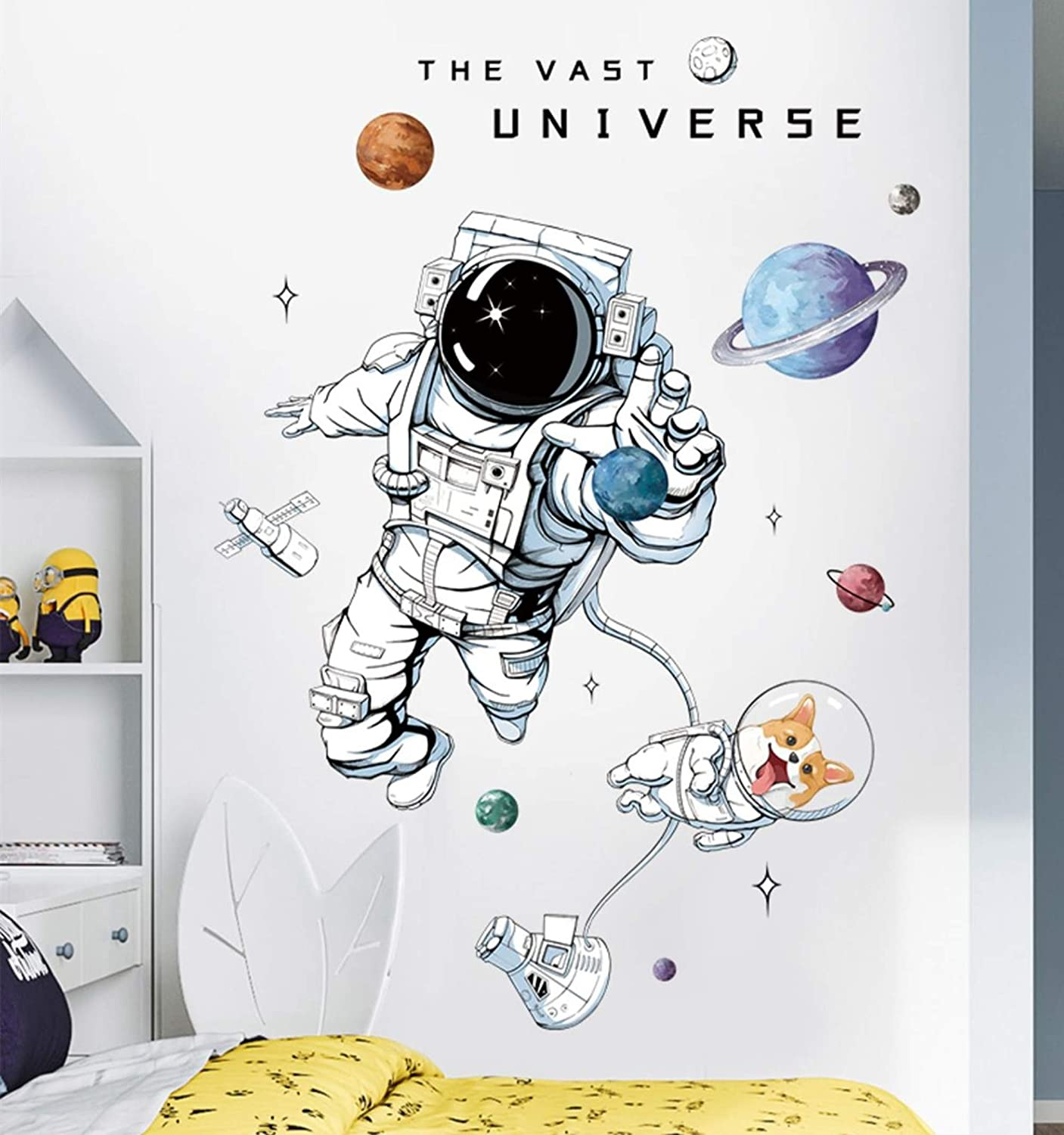 Astronaut Wall Stickers Planet Space Corgi Dog DIY Vinyl Removable Large Wall Decals Art Decorations Decor for Kids Boys Bedroom Living Room Playing Room Murals