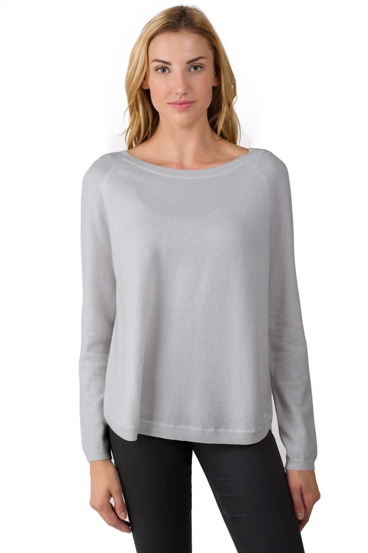 J CASHMERE Women's 100% Cashmere Slouchy Raglan Sleeve Boatneck Sweater (L, Grey)