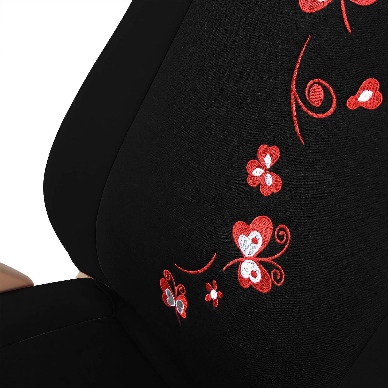 eSituro Auto Schonbezug 11-teillige Sitzbez/üge f/ür Auto mit Schmetterling universal schwarz-rosa SCSC0062
