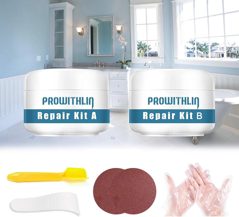 Tub, Tile und Shower Repair Kit, Porcelain Repair Kit Waterproof, Tub und Tile Refinishing Kit, Fiberglass Repair Kit, Tile Repair Kit für Tubs, Toilet, Porcelain, Sink Crack (3.5Oz White)