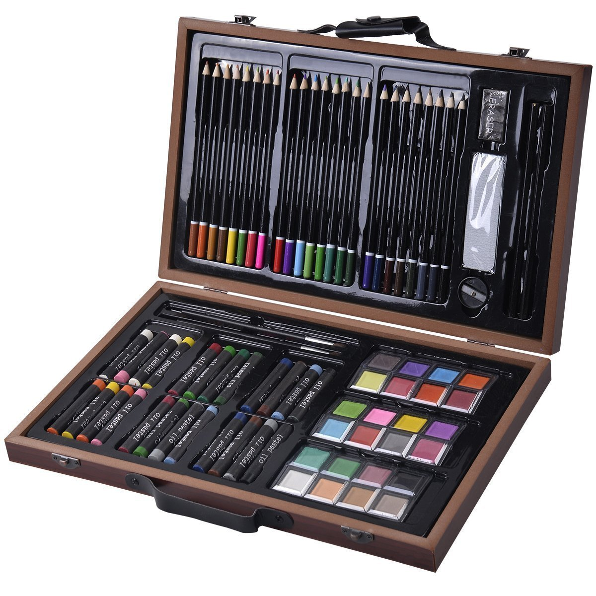 Goplus 80-piece Deluxe Art Set Drawing and Painting w/ Wood Case & Accessories