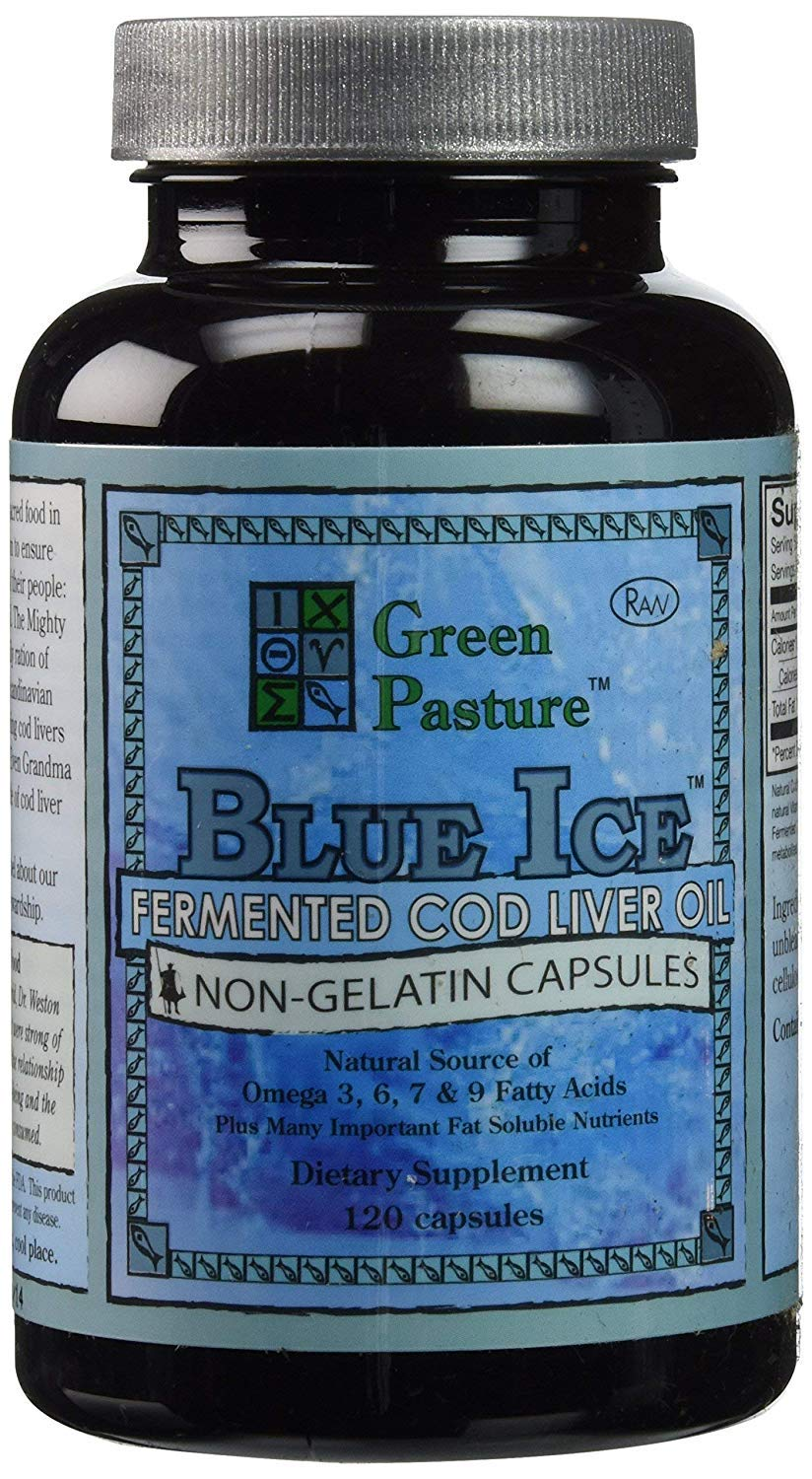 BLUE ICE Fermented Cod Liver Oil -Non-Gelatin Capsules (2 Pack)