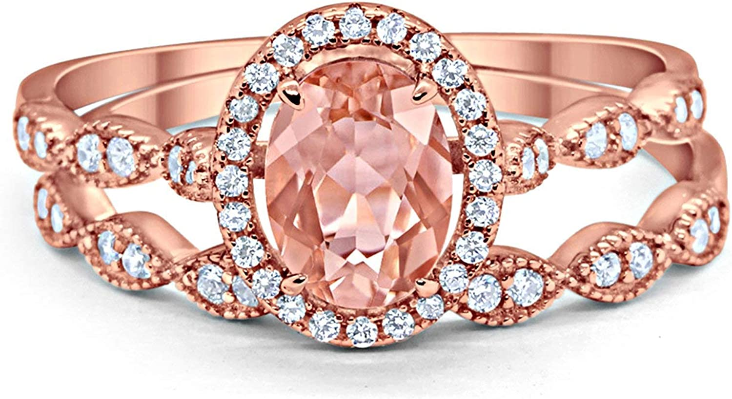 Blue Apple Co. Halo Oval Bridal Set Art Deco Oval Round Rose Tone Simulated Morganite Cubic Zirconia Solid 925 Sterling Silver Size-5 713o2BWqr-JL