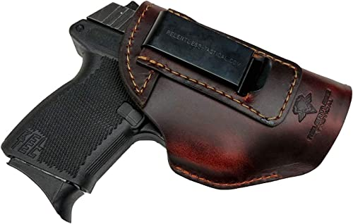 Relentless Tactical he Defender Leather IWB Holster - Made in USA - Fits Glock 42 & 43 | Sig P365 | Ruger LC9, LC9s | Kahr CM9, MK9, P9 | Springfield...