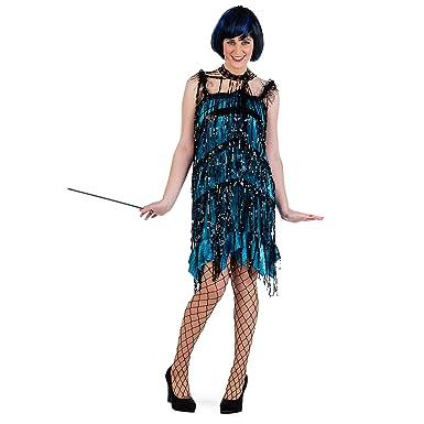Vestido de charleston de señora con lentejuelas y flecos años 20 color negro y petróleo -