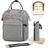 Diaper Backpack Wide Open Design and Waterproof Fabric, Multi-Function Travel Backpack Nappy Bags, Nappy Tote Bag for Baby Care, Large Capacity, Stylish and Durable, Newborn Gifts (300D Linen gray)