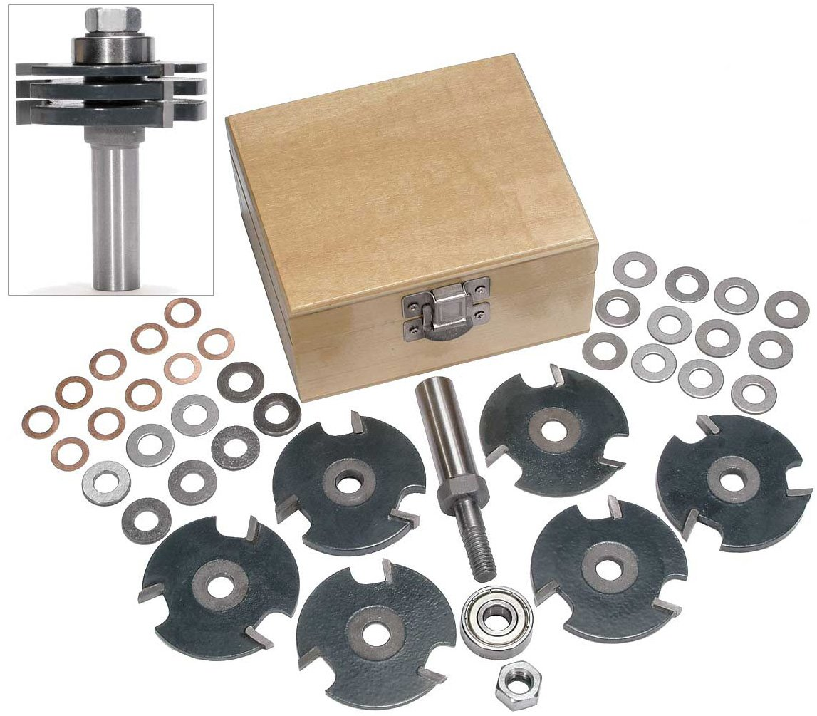 MLCS 8371 Stackable Adjustable Slot Cutter Router Bit Set with 1/2'' Shank