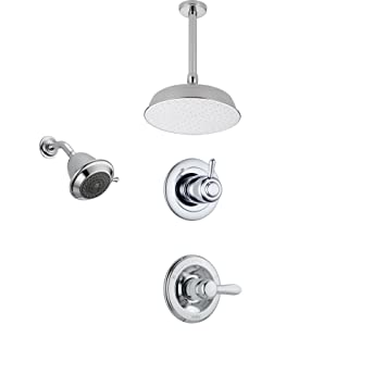 Delta Lahara Chrome Shower System With Normal Shower Handle, 3 Setting  Diverter, Large