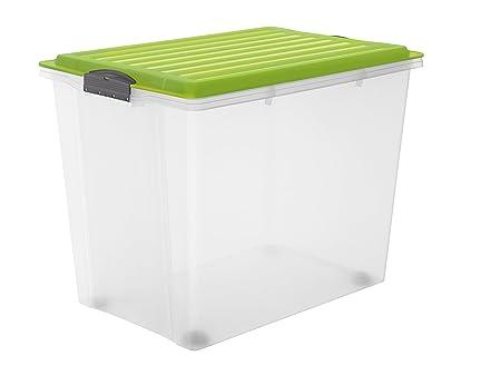 Rotho Compact Aufbewahrungsbox 70 l mit Deckel und Rollen, Kunststoff (PP), grün / transparent, 70 Liter (57 x40 x 43,5 cm) /