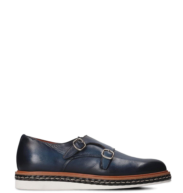 - Santoni Herren MGHI12674JW3GNDTU55 Blau Leder Monk-Schuhe