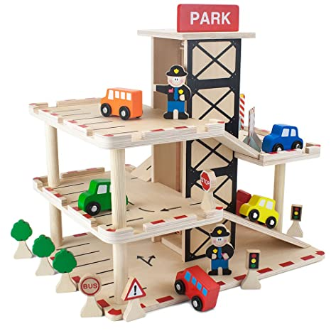 Imagination Generation Downtown Deluxe Wooden Parking Garage Ramp Service Station Playset With Elevator Signs Accessories For Mini Toy Cars 19