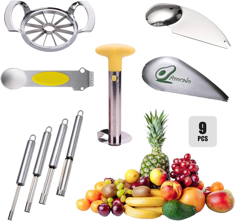 Family Fruit Tools Set,Stainless Steel Kitchen Gadget,Cutter/Slicer/Corer/Peeler/Planer/Grater/Pitter/Divider/Zester/Remover,Apple/Pineapple/Avocado/Strawberry/Lemon/Citrus/Orange/Pitaya/Mango(9pcs)