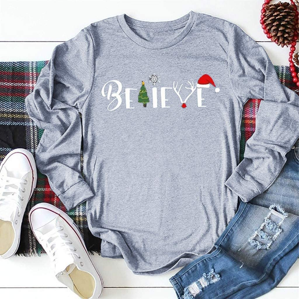 CGKUITER Believe Womens Long-Sleeved T-Shirt Christmas Graphic Print Oversized Tee Top