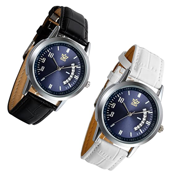 lancardo Reloj de pulsera para hombre con correa de piel esfera Digital función calendario Lovers, blanco y negro: Amazon.es: Relojes
