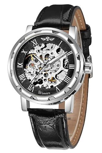 Gute Classic Reloj de Pulsera mecánico y automáticos, de Estilo Steampunk, con Estructura Plateada, Color Negro, Unisex: Amazon.es: Relojes