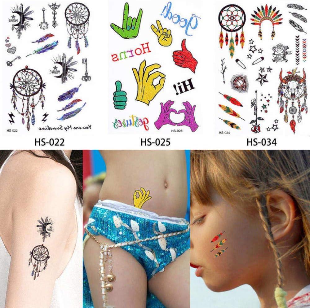 adgkitb 2 Piezas niños pequeño Brillo Tatuaje calcomanía Princesa ...