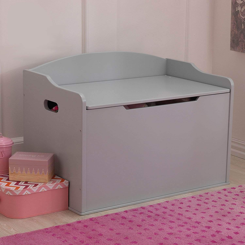 KidKraft Wooden Kids Bedroom or Playroom Austin Storage Bench Toy Box, Gray  Fog (2 Pack)