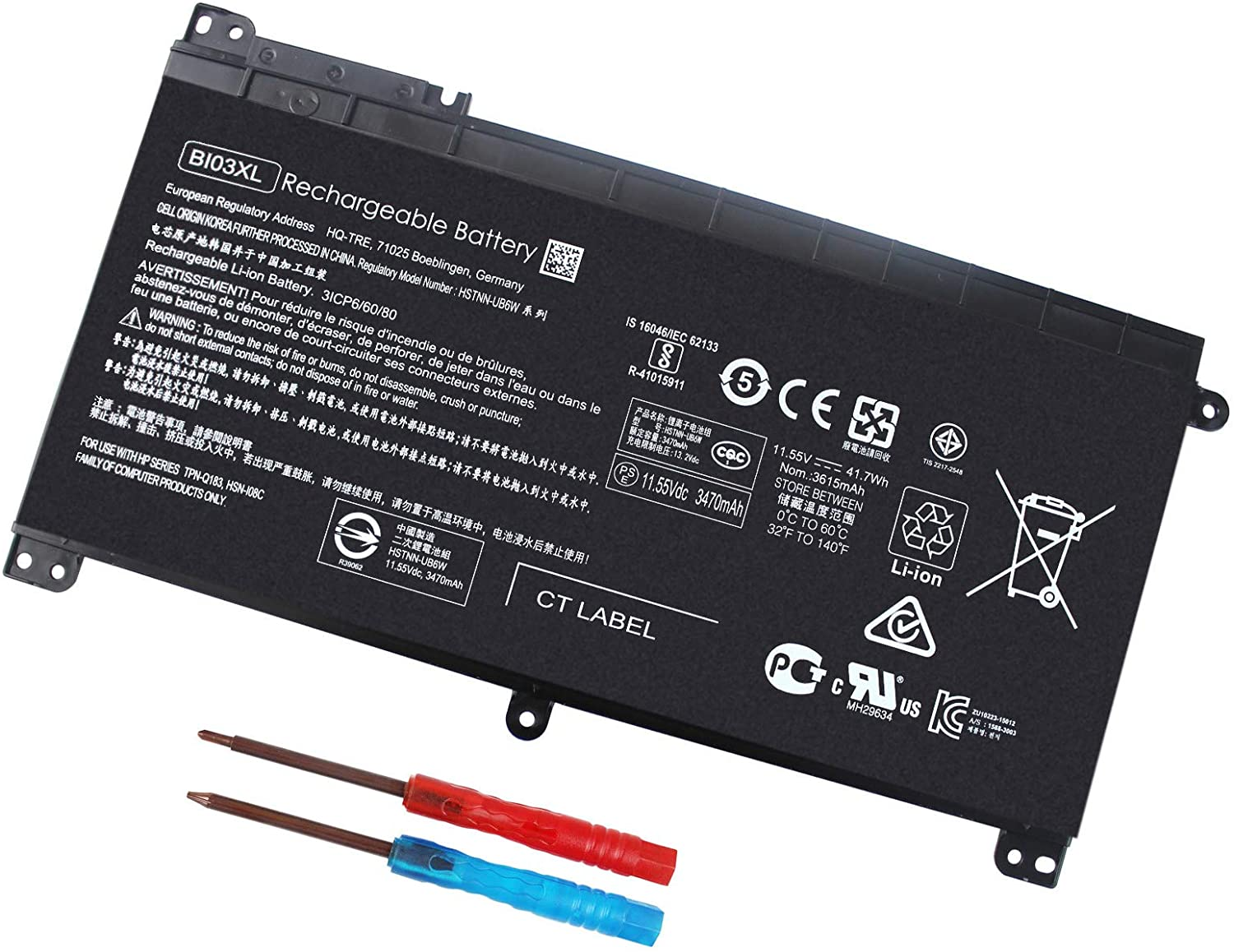 BI03XL ON03XL 844203-850 844203-855 Laptop Battery for HP Pavilion X360 13-U M3-U m3-u001dx m3-u103dx 13-u003la Stream 14-AX 14-ax010wm 14-ax020wm 14-ax030wm 14-ax040wm 915230-541 - 12 Months Warranty