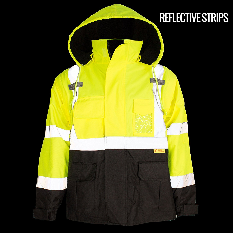 Troy Safety New York Hi-Viz Workwear Men's Ansi Class 3 High Visibility Safety Bomber Jacket with Zipper, PVC Pocket, Black Bottom, Qty 1 (Medium, Lime Green) by New York Hi-Viz Workwear (Image #7)