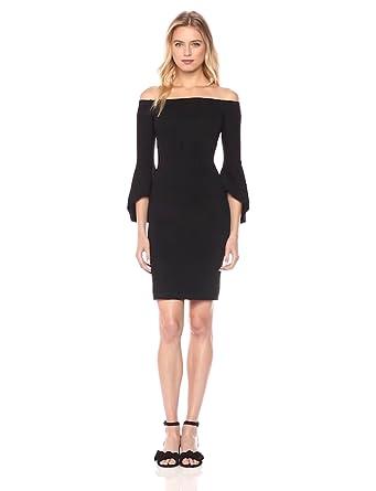 Rachel Rachel Roy Women's Bell Sleeve Knit Off Shoulder Dress, Black, XS