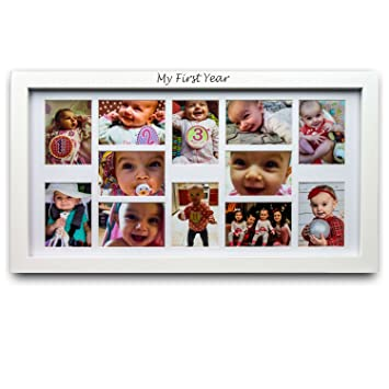 Amazon.com : My First Year Baby Picture Frame - Baby Keepsake Frame ...