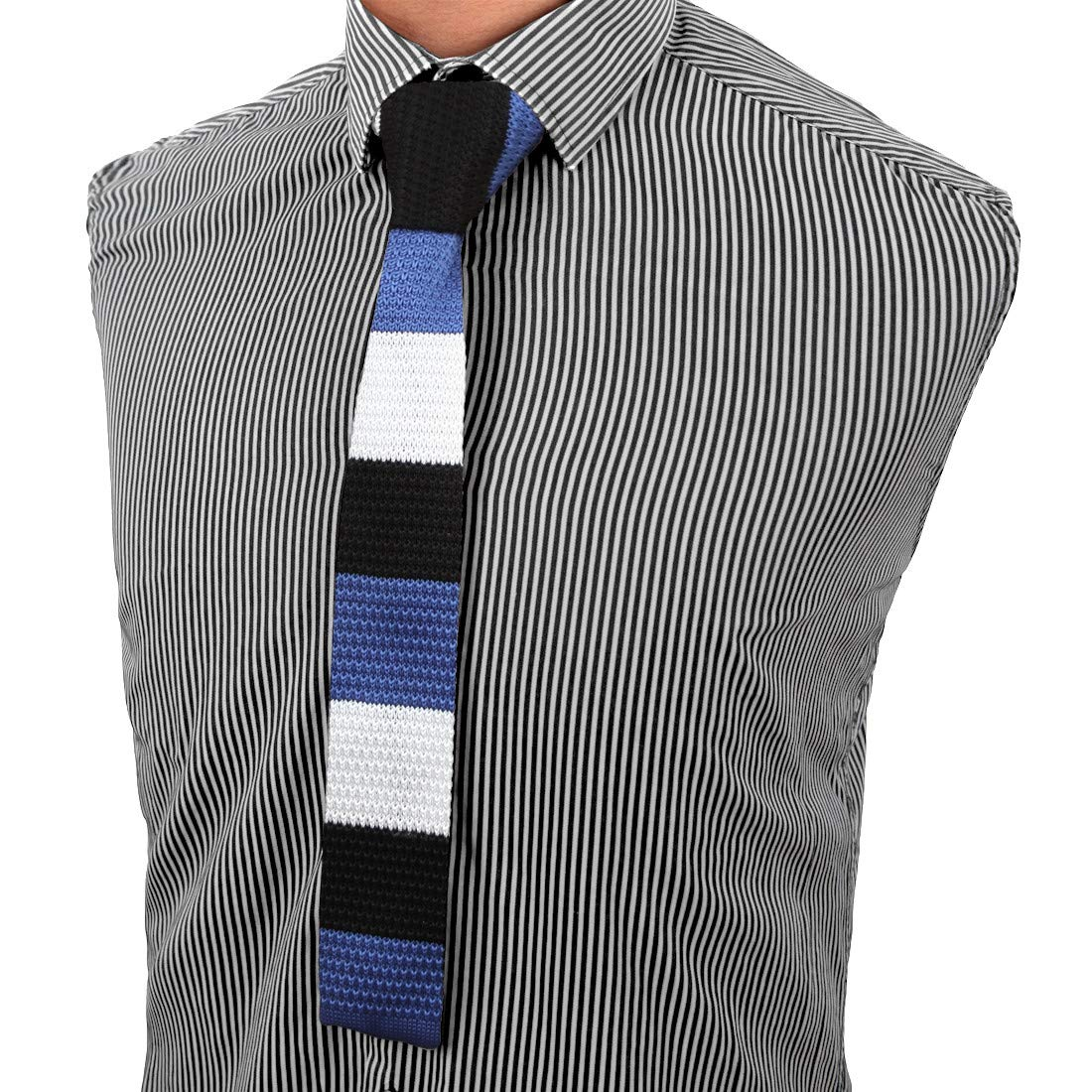 Dan Smith C.C.G.A.044 Black White Popular Microfiber Knitted Skinny Tie for Working