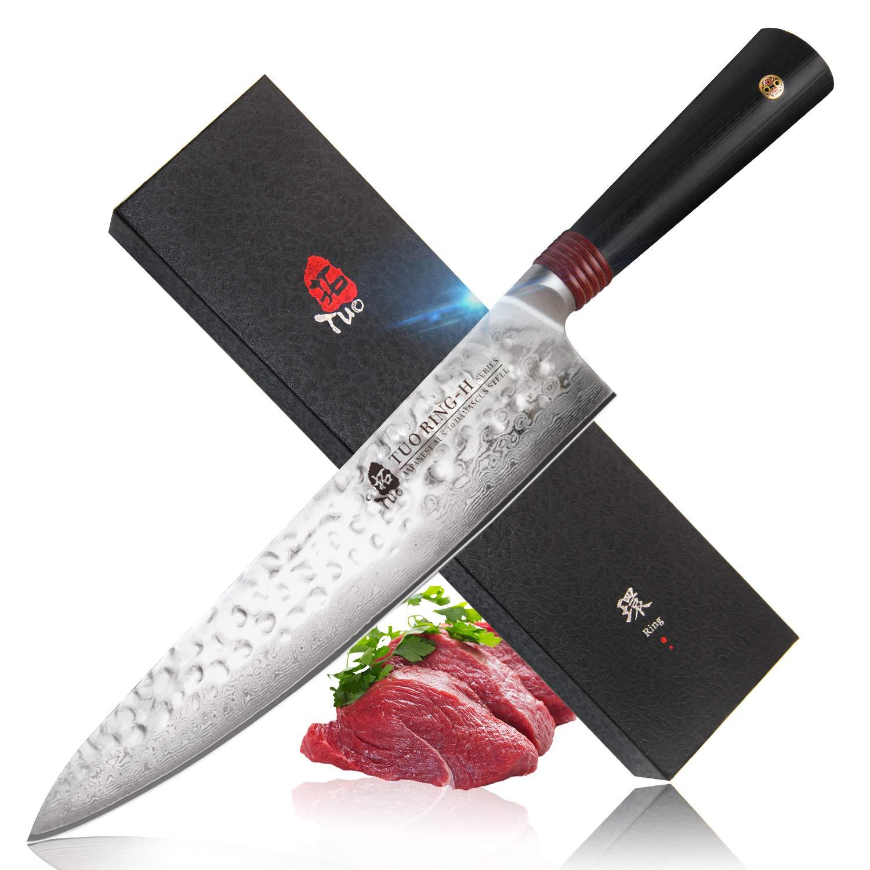 """TUO Cuchillo de Chef,Cuchillo de Cocinero 9.5"""" Cuchillo de Núcleo de Corte de Acero Inoxidable AUS-10 HC Japonés - Acabado Martillado- Manija G10 - ..."""