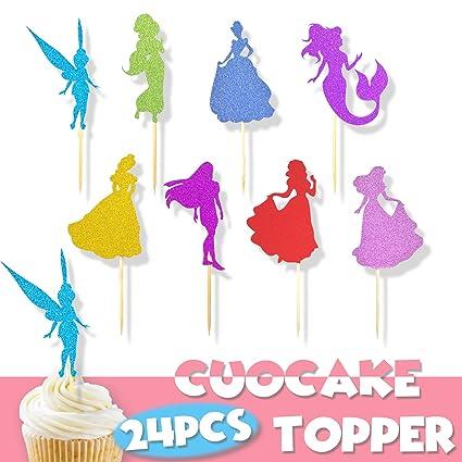 Decoración para cupcakes de princesa, 24 piezas: Amazon.com ...