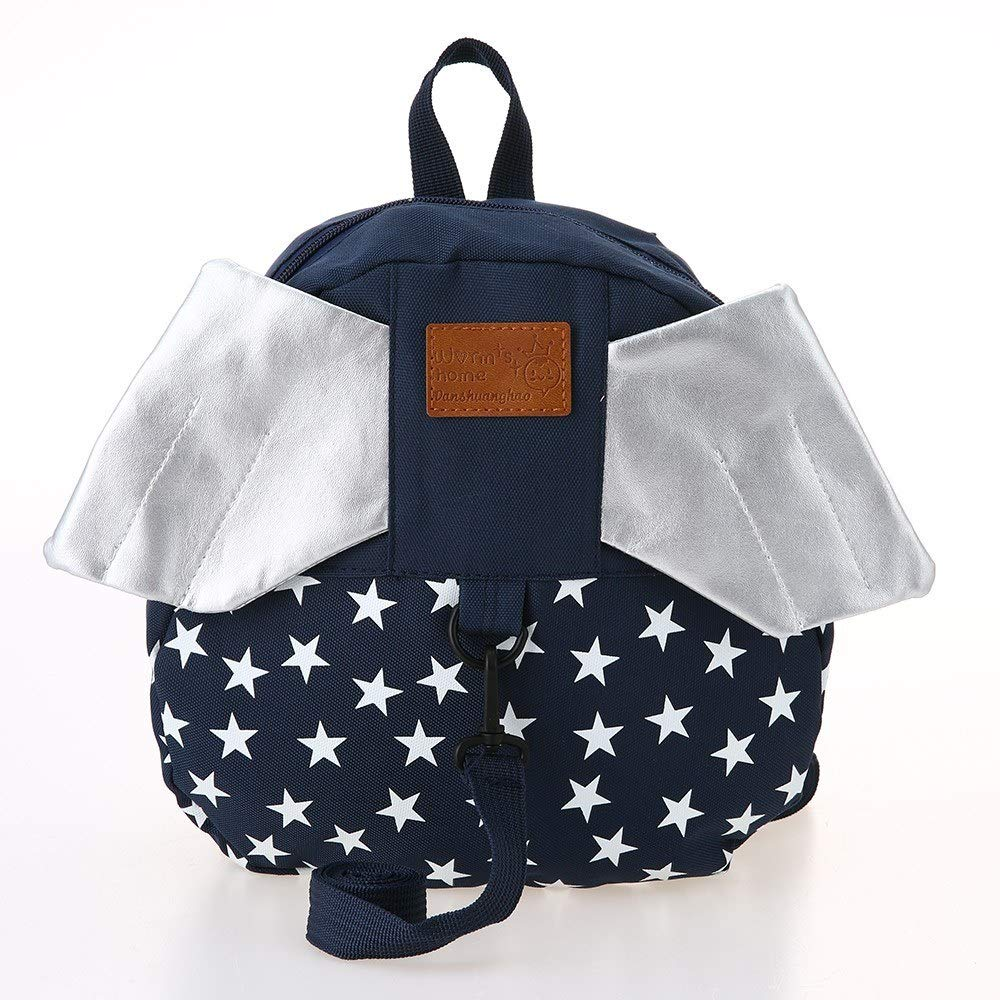 Yevison Kids School Bags Backpack Anti-lost Harness Canvas Cute Children Kindergarten Schoolbags With Wings Dark Blue Star Durable and Useful