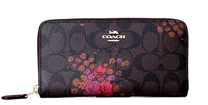COACH SIGNATURE ACCORDION ZIP WALLET WITH FLORAL PRINT at Amazon ... b99d7a1c09413