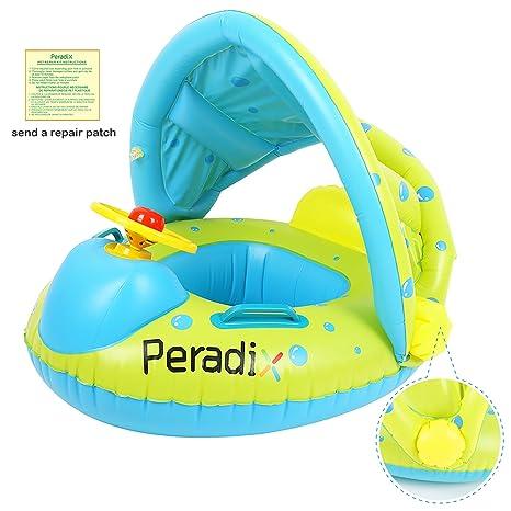 Peradix Flotadora para bebés 6meses-3 Años Barco Inflable Flotador con Asiento Respaldo Techo Ajustable