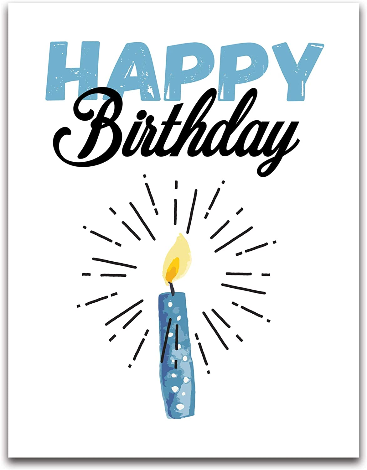 """Jumbo Extra-Large Blue Happy Birthday Greeting Card - Blank on the Inside -  With Envelope 5.5"""" x 5"""" - Single"""