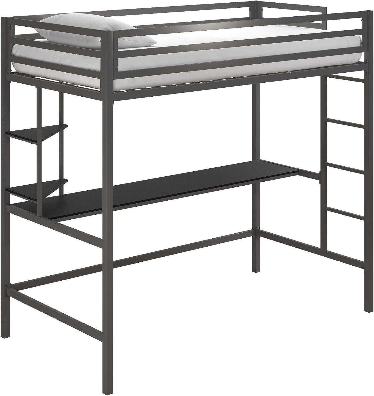 Novogratz 4370429N Maxwell Metal Twin Loft Desk & Shelves, Gray/Black Bunk Beds,