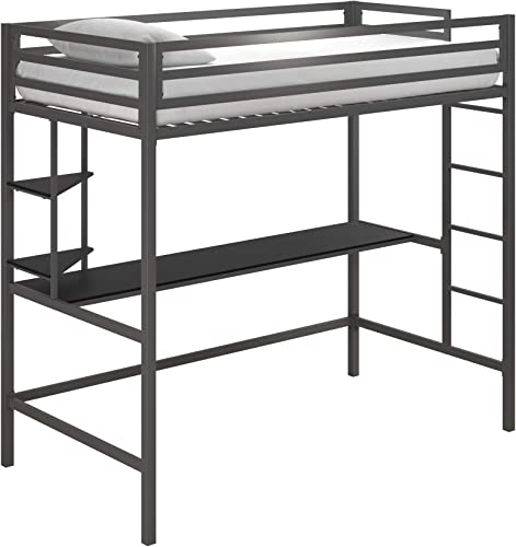 Novogratz Maxwell Metal Twin Loft Desk Shelves, Gray Black Bunk Beds,