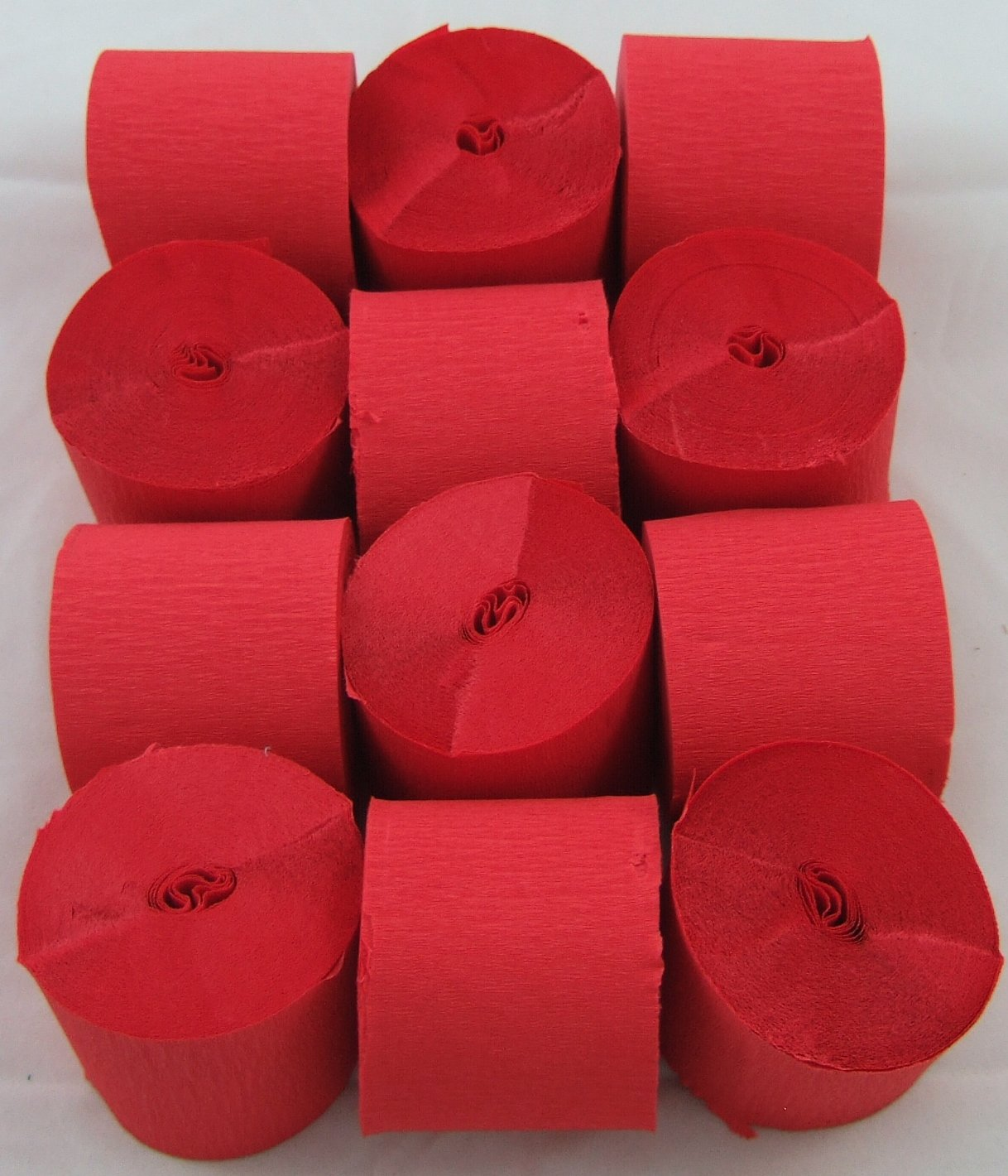 12 Red Crepe Paper Streamers 45mm x 10meters Many uses as decorations marketing tools great favourite with schools and the craft industry