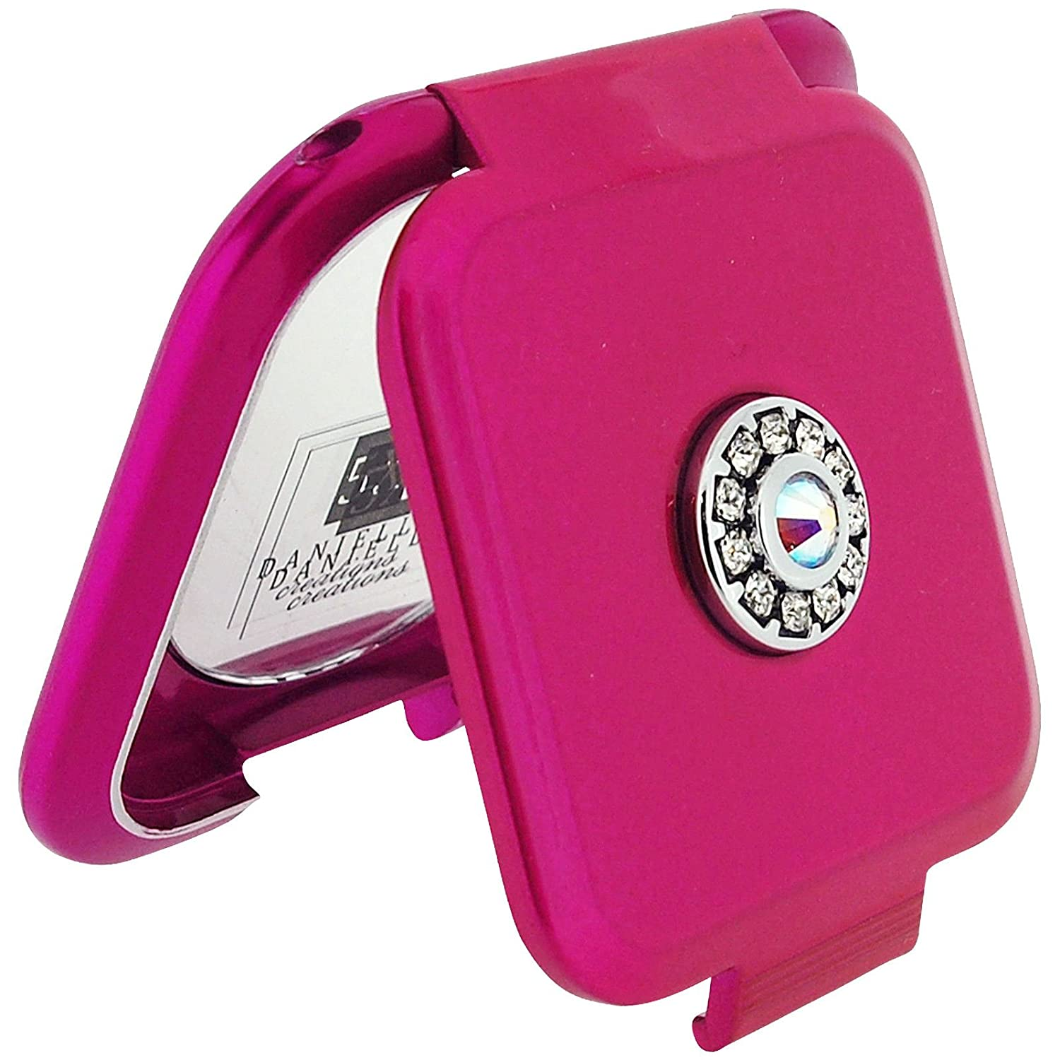 Danielle Compact Mirror Square Hot Pink Mirror Made With Swarovski Crystals 5x Magnification & True Image SC1033