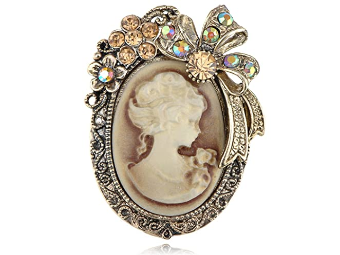 Vintage Style Jewelry, Retro Jewelry Alilang Vintage Inspired Crystal Rhinestone Victorian Lady Cameo Brooch Pin Maiden Flower Ribbon Bow Pendant $11.99 AT vintagedancer.com