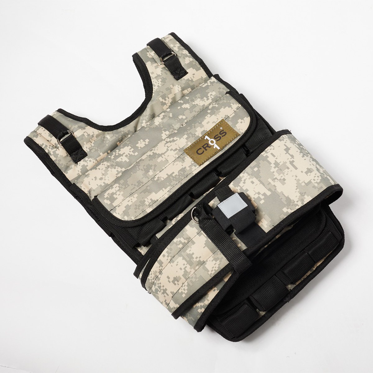 CROSS101 Adjustable Camouflage Weighted Vest 12LBS - 140LBS (Desert - 100LBS)