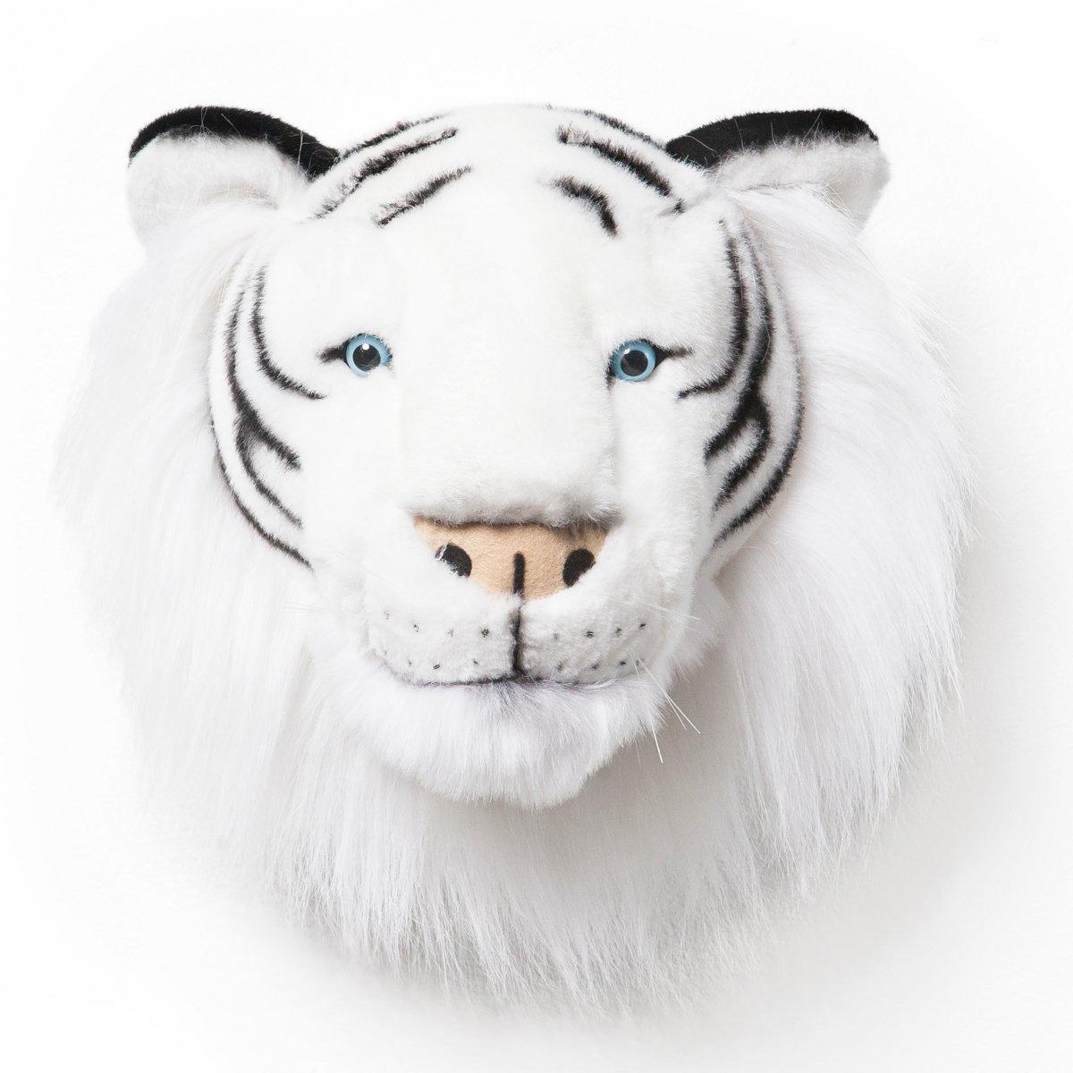 Weisser Tiger Albert - Plüschtier als Wanddekoration im Kinderzimmer
