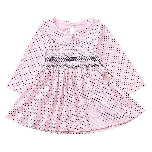 01ed3f36f Dinlong Toddler Newborn Infant Baby Girls Dress Long Sleeves Polka Dot  Print Princess Clothes Outfits (