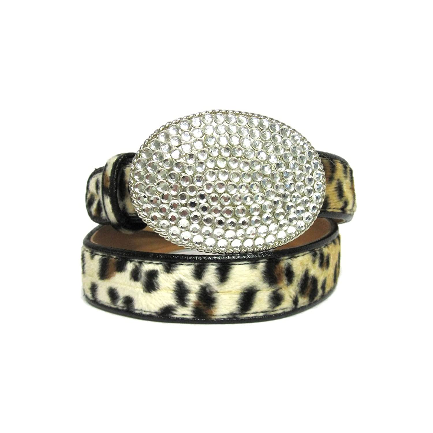 "1 1/8"" Women's Oval Silver Buckle with Rhinestones on Quality Cheetah Faux Fu..."