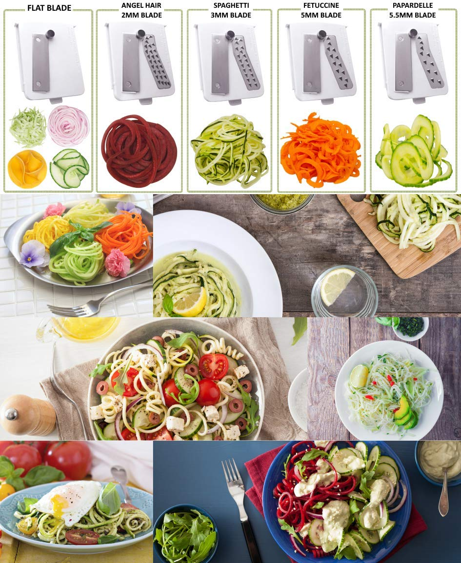 Brieftons 5-Blade Spiralizer (BR-5B-02): Strongest-and-Heaviest Duty Vegetable Spiral Slicer, Best Veggie Pasta Spaghetti Maker for Low Carb/Paleo/Gluten-Free, With Extra Blade Caddy & 4 Recipe Ebooks by Brieftons (Image #3)