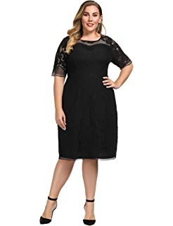 afdb4004ccc22 Chicwe Women s Plus Size Lined Floral Lace Dress - Knee Length Casual Party  Cocktail Dress