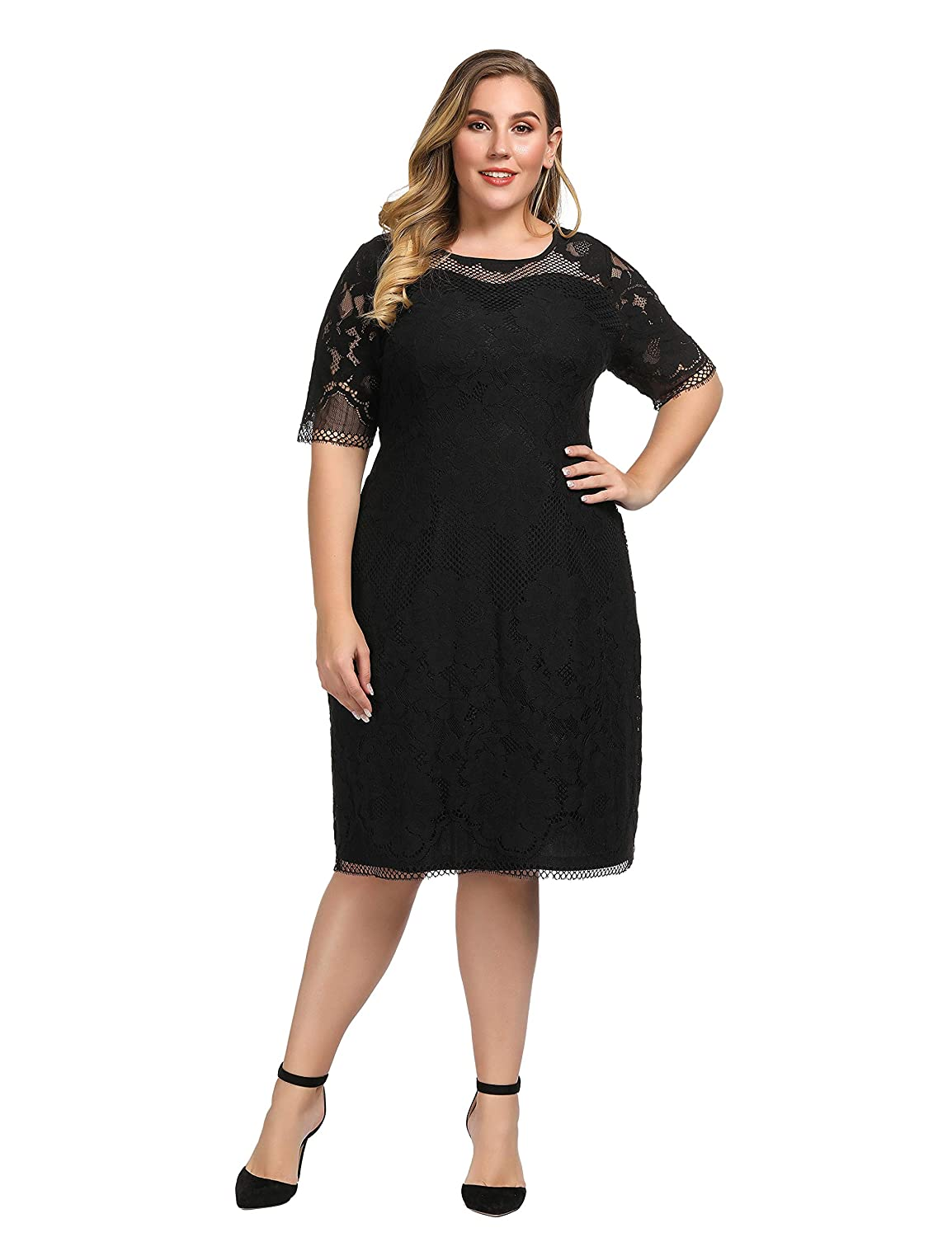 732796696be101 Chicwe Women's Plus Size Lined Floral Lace Dress - Knee Length Casual Party  Cocktail Dress at Amazon Women's Clothing store: