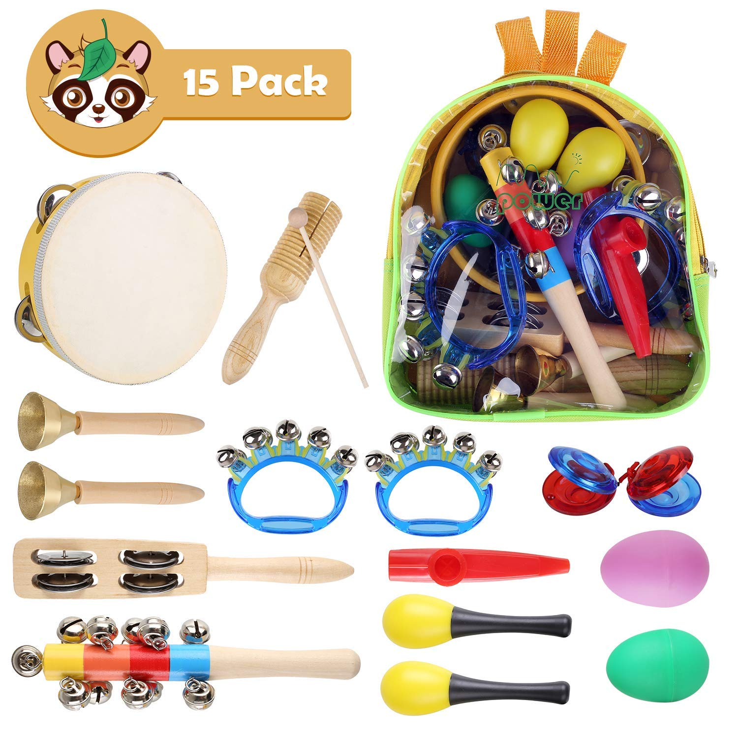 MVPower Kids Musical Instruments Set -15 Pcs Children Instruments Set Early Learning Music Toy with Tambourine, Bell Stick, Maraca, Flute, Egg Shaker, Triangle, Finger Clapper, Tone Blocks with Bag
