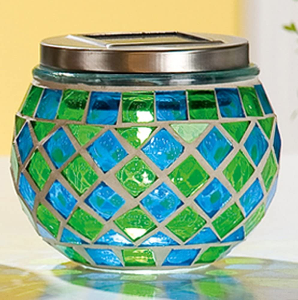 GILDE Windlicht Glas Mosaik Solar LED 3-sort Nr.1