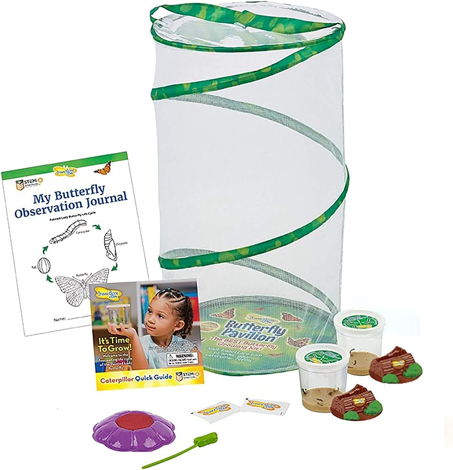 Insect Lore Butterfly Pavilion: Pavilion Habitat and Two Live Cups of Caterpillars with STEM Butterfly Journal – Life Science & STEM Education – Butterfly Kit